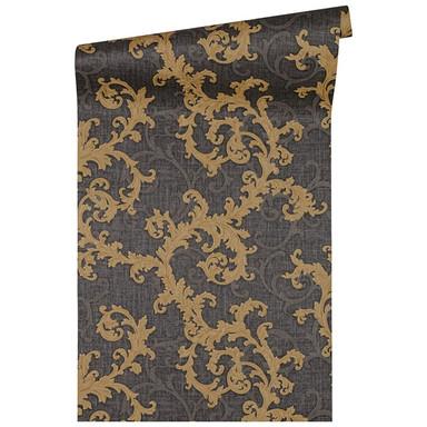 Versace Home Mustertapete Tapete Baroque & Roll Grau, Metallic, Schwarz