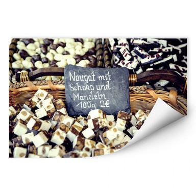 Wallprint Nougat mit Schokolade und Mandeln