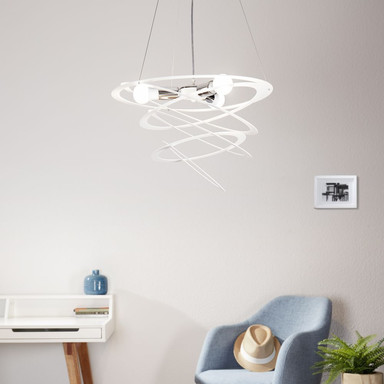 famlights | Pendelleuchte Toni aus Metall in Weiss 3xE27 max.60W