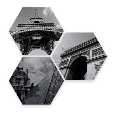 Hexagon - Alu-Dibond-Silbereffekt - Impression of Paris (3er Set)