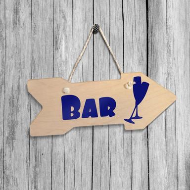 Holz-Wegweiser - Bar inkl. Sisalseil