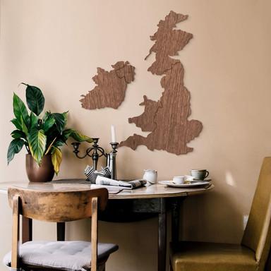Holzkunst Mahagoni Furnier - Karte Vereinigtes Königreich