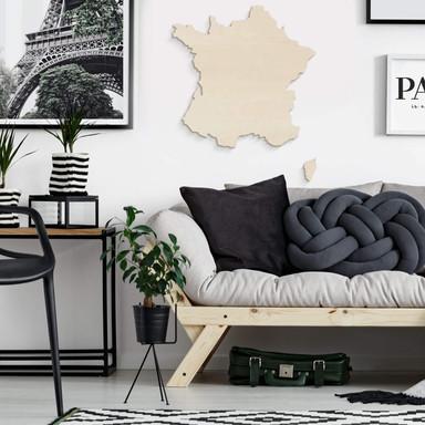 Holzkunst Pappel Furnier - Karte Frankreich