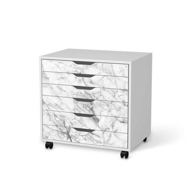 Möbelfolie IKEA Alex Rollcontainer 6 Schubladen - Marmor weiss
