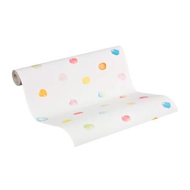 Mustertapeten Esprit Home Kids Papiertapete Dots & Stripes Weiss, Hellblau, Blau, Rot, Gelb
