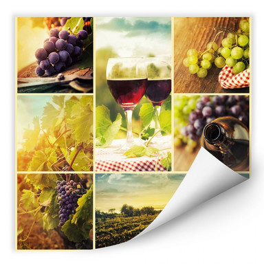 Wallprint Wein Collage- quadratisch