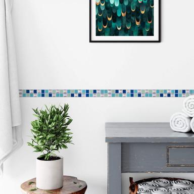 3D Fliesenaufkleber Mosaik Bordüre Blau - 10er Set je 25.3 x 3.7cm