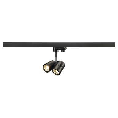 Leuchtenspot Bima für 3-Phasen Hochvolt-Stromschiene in matt schwarz, zweiflammig