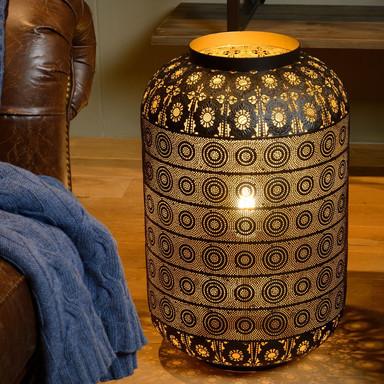 Tischleuchte Tahar im orientalischen Stil, schwarz, 390mm