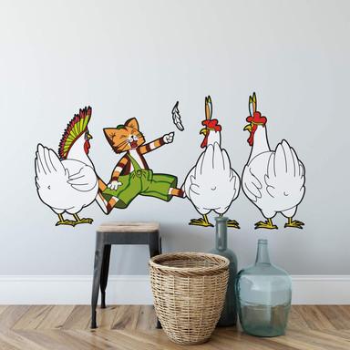 Wandsticker Pettersson und Findus - Indianer-Hühner