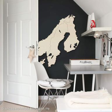 Holzkunst Pappel Furnier - Karte Skandinavien