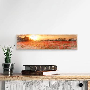 Holzschild Mohnfeld im Sonnenuntergang
