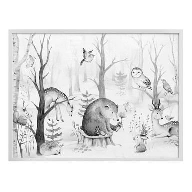 Poster Kvilis - Tierfreunde im Wald - schwarz-weiss