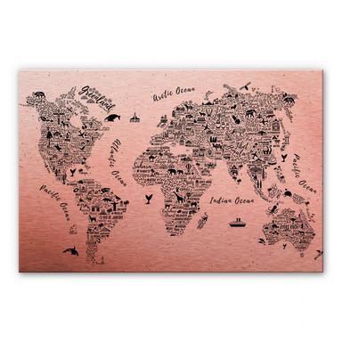 Alu-Dibond-Kupfereffekt Weltkarte - Around the world