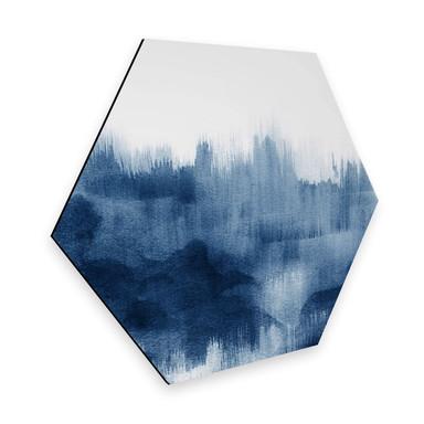 Hexagon - Alu-Dibond Nouveauprints - Watercolour Brush Strokes (blau)