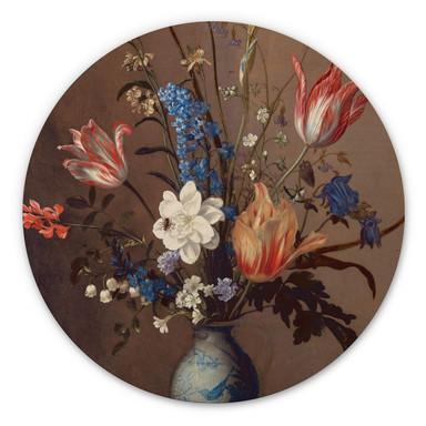 Holzbild Van der Ast - Blumen in einer Wan-Li Vase - Rund