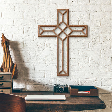 Holzkunst Mahagoni - Origami Kreuz - Bild 1