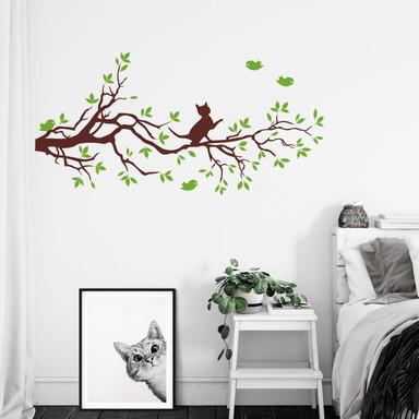 Wandtattoo Zweig mit Kätzchen (2-farbig)