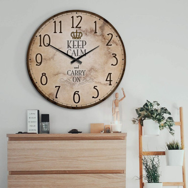 XXL Wanduhr - Keep Calm and Carry on - Ruhe Bewahren - Ø 70cm - Bild 1