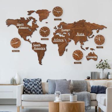 3D Holz Weltkarte mit 5 Uhren Braun - 180x110cm - Bild 1