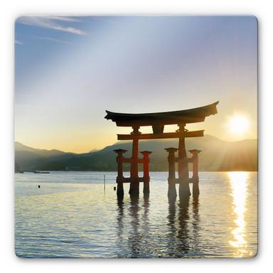 Glasbild Itsukushima Schrein - quadratisch