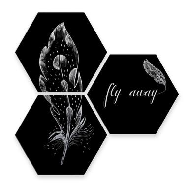 Hexagon - Alu-Dibond-Silbereffekt - Kvilis - Fly away - Feder (3er Set)