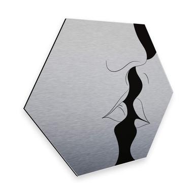 Hexagon - Alu-Dibond-Silbereffekt Nordic Creators - White Kiss