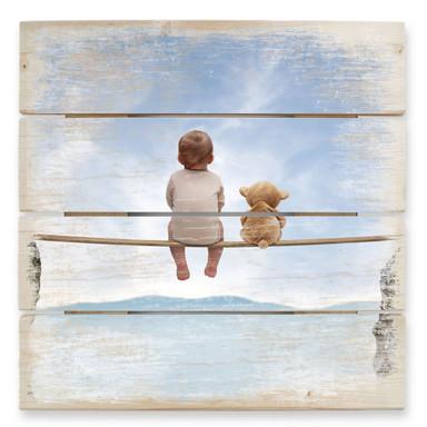Holzbild Mit Teddy in den Bergen