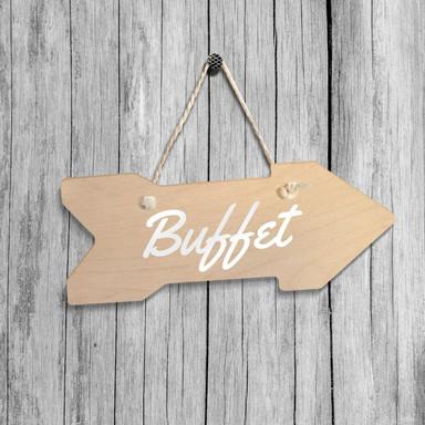 Holz-Wegweiser - Buffet inkl. Sisalseil