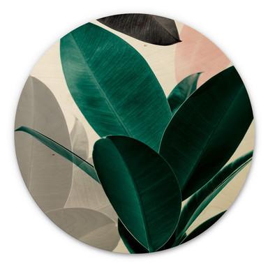 Holzbild Sisi & Seb - Blätterspiele - Rund