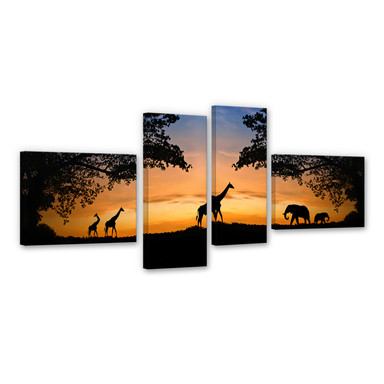 Leinwandbild African Sunset (4-teilig)