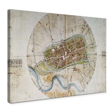 Leinwandbild da Vinci - Stadtplan von Imola