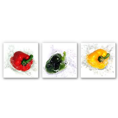 Wandbild Splashing Paprika (3-teilig)