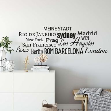 Wandtattoo + Name - Städte Banner