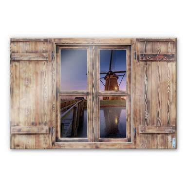 Glasbild 3D Holzfenster - Pablo Kinderdijk 2