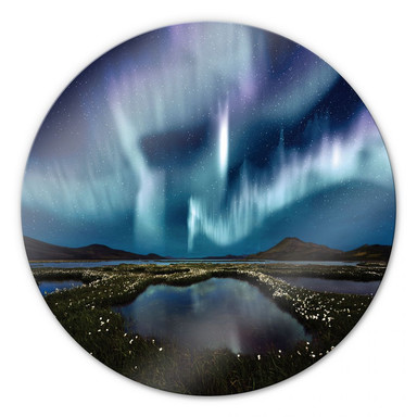 Glasbild Northern Light - rund