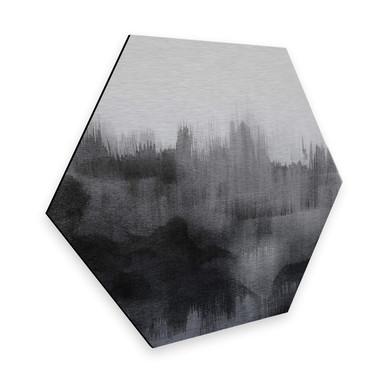 Hexagon - Alu-Dibond Silbereffekt Nouveauprints - Watercolour Brush Strokes (schwarz)