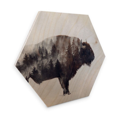 Hexagon - Holz Birke-Furnier - Beáta - Der Bison