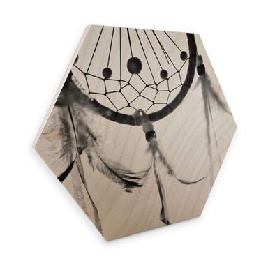 Hexagon - Holz Birke-Furnier - Träumfänger