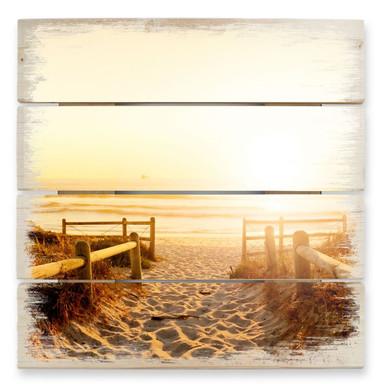 Holzbild Sunset at the Beach