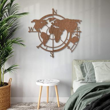 Holzkunst Mahagoni - Weltkarte Himmelsrichtungen 02