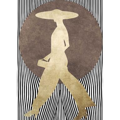 Livingwalls Fototapete ARTist La Madame Noir abstrakte Kunst braun, gold, schwarz, weiss - Bild 1