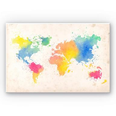 Wandbild Weltkarte - Watercolour