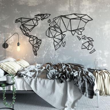 3D Weltkarte Origami aus Acryl