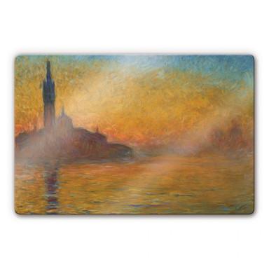 Glasbild Monet - Venedig bei Sonnenuntergang