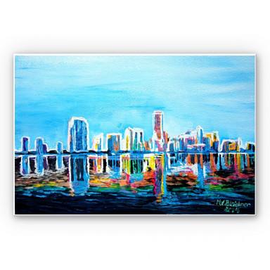 Hartschaumbild Bleichner - Miami im Neonschimmer