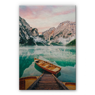 Alu Dibond Bild Lago di Braies