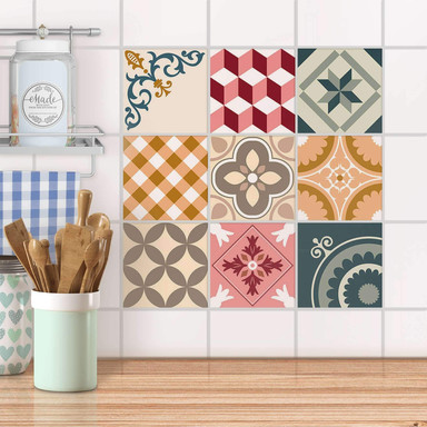 Fliesenaufkleber Set - Swedish Tiles