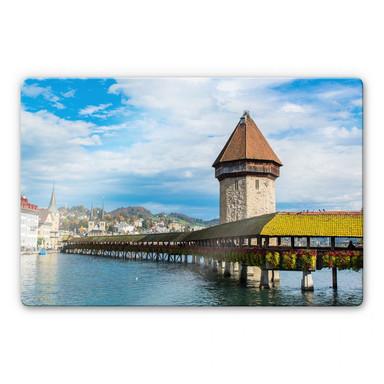 Glasbild Holzbrücke in Luzern