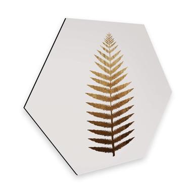 Hexagon - Alu-Dibond Kubistika – Goldener Farn